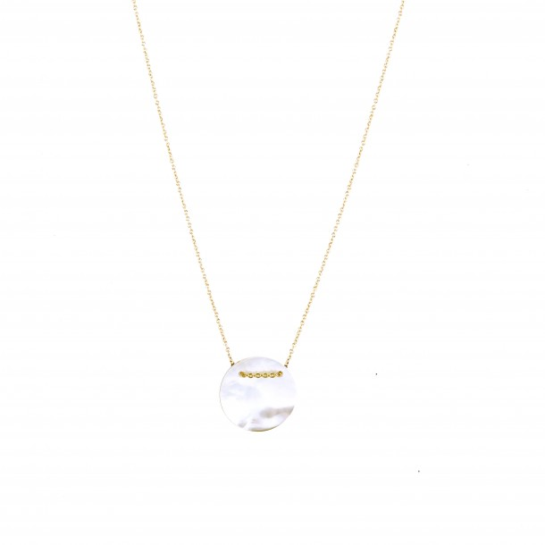 Collier court Rond Nacre