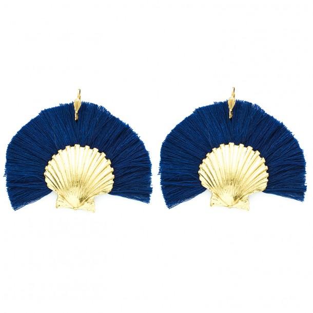 Boucles d'oreilles Danaé Bleu Marine