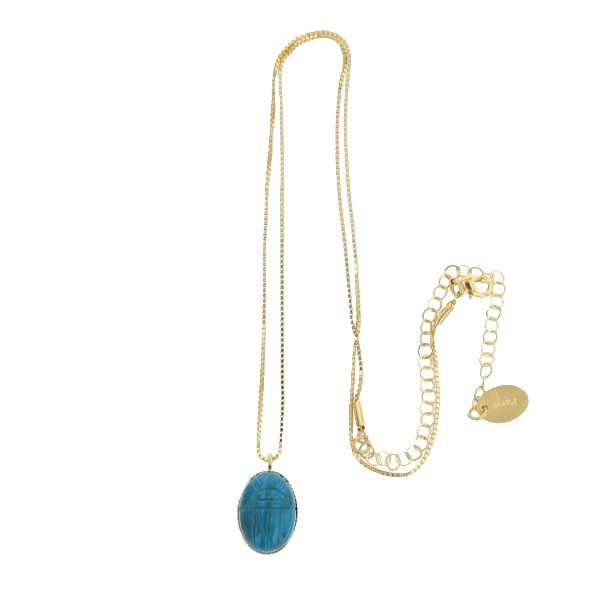 Collier court New Amulette chrysocolle