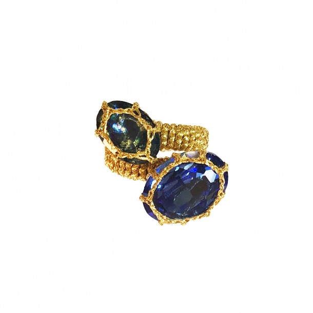 Bague double Cancun bleue