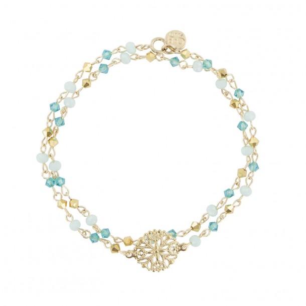 Bracelet double tour Turquoise