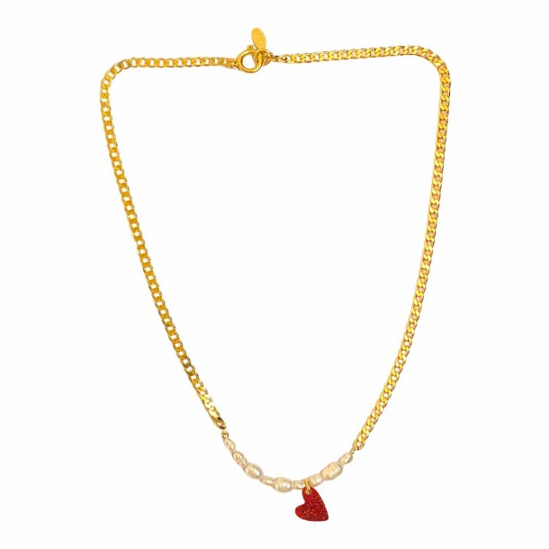 Collier Coeur Joie Rouge