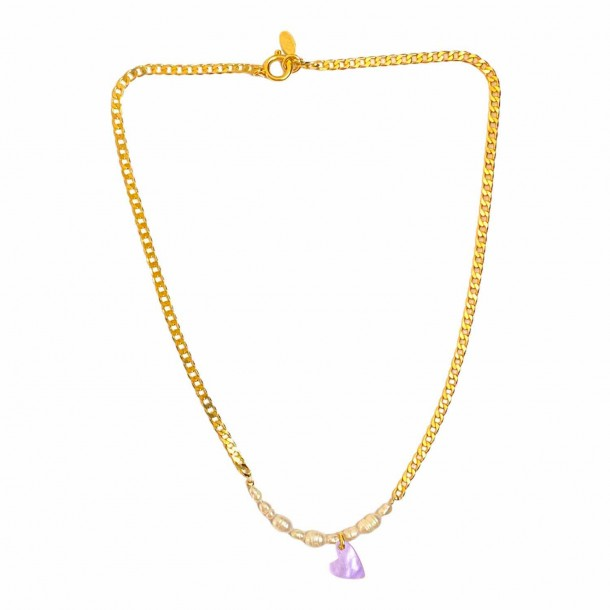 Collier Coeur Joie Lilas
