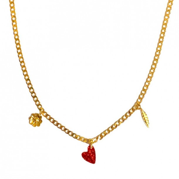 Collier Coeur Vaillant Rouge